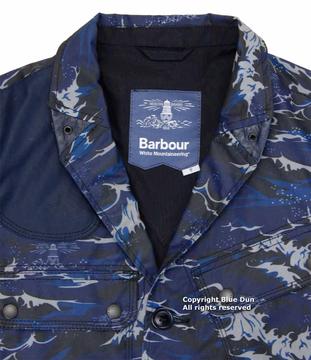 barbour x white mountaineering wave print lapel jacket バブアー x